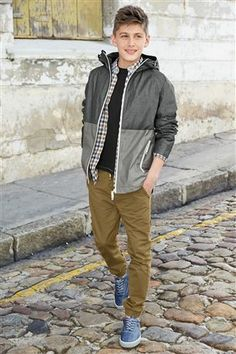Grey Colour Block Chambray Jacket with gingham shirt, black tee and hem jogger (3-16yrs) from the Next UK online shop