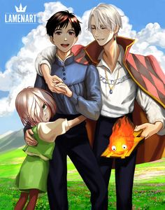 "lamenart: ""I am sorry, I have been so impatient in all my life, still can't wait til the other finished. So I hope it's okay. Howl's Moving Castle AU. And yeah, Yurio is still an angry little kitten  The art concept is not mine. It's just one of my..."