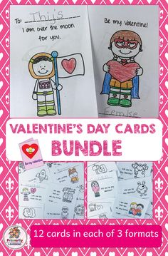 Imagine creating illustrations and coloring Valentine's Day Cards for friends! Kids will have fun working with these 12 cards (in three different formats). #valentinesday #valentinesdayactivities