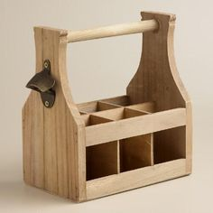 One of my favorite discoveries at WorldMarket.com: Wooden Bottle Caddy with Opener