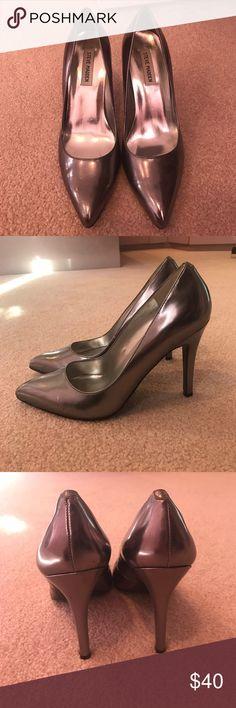 "Metallic Steve Madden pumps Metallic dark silver pumps. 4"" heel Steve Madden Shoes Heels"