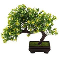 Mihounion artificielle Pin Plante en pot Vert réaliste Faux bonsaï Craft Plante Jaune avec pommes de table Rebord de fenêtre Maison Bureau de Pâques Mariage Décorations de l'extérieur