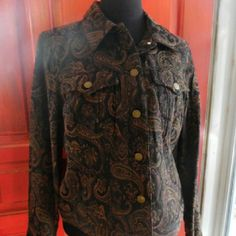 Brown Paisley Jacket Front pockets. Excellent condition. Cotton and polyester Caribbean Joe Jackets & Coats