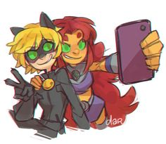 The green eyed duo are taking a selfie. Nice.