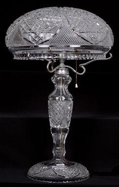 Cut glass lamp.