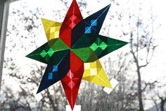 I like this color combination for a window star.