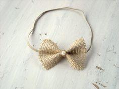 Burlap Bow headband newborn photo prop by InspiredbyEmilyGrace, $6.50
