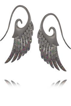 Noor FaresGalactic Garden Wings rhodium-plated sterling silver multi-stone earrings