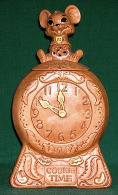 Vintage 1960 COOKIE TIME Twin Winton Cookie Jar, Mouse on a Clock | eBay