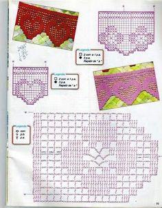 Feltros e Bordados: Barradinhos de Crochê #moldesparafeltro #artesanatoemgeral #feltrofacilmoldes #artesemfeltro Crochet Blanket Edging, Crochet Edging Patterns, Crochet Borders, Crochet Diagram, Crochet Chart, Crochet Towel, Hand Crochet, Free Crochet, Patron Crochet