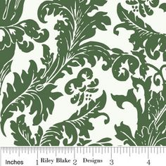 Green Damask Fabric Holly Jolly By My by RaspberryCreekFabric, $4.50