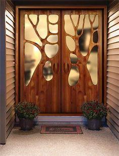 A tree door.  Beautiful design.