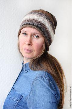 """Купить Бело-серо-коричневая вязаная шапка """"Просто Полоски"""" - шапка с полосками…"""
