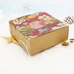 new 30pcs/lot Vintage Flower Kraft Paper Boxes Wedding Candy