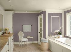 Benjamin Moore Paint Colors - Purple Bathroom Ideas - Fun & Fanciful Purple Bathroom - Paint Color Schemes . . . Walls - Wet Concrete (2114-40); Ceiling & Trim - Ivory Tusk (2153-70); Accent (Towels) - Stonington Gray (HC-170).