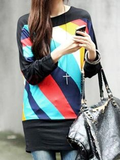 Fashion Women's O-Neck Long Sleeve Patchwork Loose T-Shirt on buytrends.com