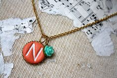 Initial necklace Coral and aqua clay initial by thepaisleymoon, $20.00