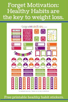 Free Printable Healthy Habits Planner Stickers from Weigh To Maintain {newsletter subscription required}