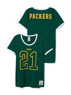 Victoria Secret PINK Green Bay Packers Jersey Tee Shirt S Mesh NWT  #VictoriasSecret #GraphicTee
