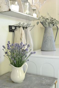 Love the lavender in the white pitcher
