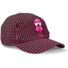 Fendi Karlito appliquéd polka-dot tech-jersey baseball cap ($320) ❤ liked on Polyvore featuring accessories, hats, fuchsia, strap baseball cap, fendi, oversized hat, adjustable hats and adjustable strap hats