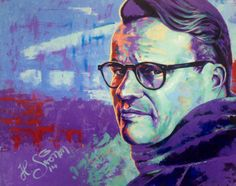 Portrait of @Ville Tolvanen . Acryl on canvas 100x82cm. Bright colors painting from warm to cold | www.heikkisivonen.com