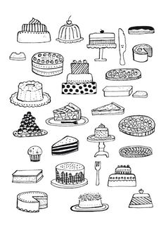 37 ideas for cake drawing paint Illustration Inspiration, Cake Illustration, Food Illustrations, Cake Drawing, Food Drawing, Doodle Drawings, Easy Drawings, Flower Drawings, Pencil Drawings