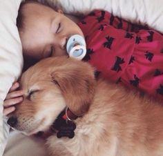 menina que dorme com filhote de cachorro