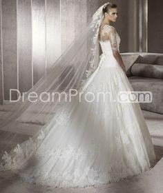 Sumptuous A-line Bateau Half-Sleeve Floor-length Chapel Appliques Wedding Dresses