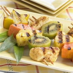 Vanilla and cinnamon add sweetness while ginger and red pepper bring a surprise heat to these grilled tropical fruit skewers. #recipe