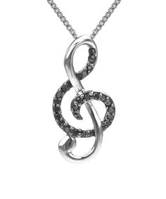 Black Diamond & Sterling Silver Treble Clef Pendant Necklace