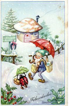 vintage Christmas card - mushroom, elf, ladybug