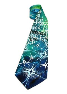 Hand-Painted Silk Tie with Crystals by LaijaArt on Etsy