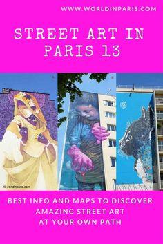Street Art Paris 13 at Butte aux Cailles, les Frigos and the Mural Program. Best info & maps to discover Paris amazing street art at your own path. Street Art Paris 13, Best Street Art, Amazing Street Art, Best Vacation Destinations, Best Vacations, Vacation Trips, Visit Bordeaux, Paris Neighborhoods, Paris Things To Do