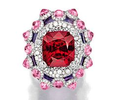 RED SPINEL, PINK SAPPHIRE, AMETHYST AND DIAMOND RING, WALLACE CHAN (whose work I Love ! )