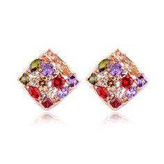 KOVTIA Bridal Colorful Cubic Zircon Wedding Stud Earrings Hot Sale luxury Women Party and Daily Wear Jewerly  (KY125424)