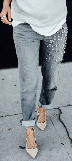 #spring #summer #street #style #outfitideas | Beaded Denim + Lace Up Shoes