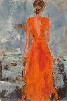 Orange dress by Isabelle Nativelle - Acrylic Painting 2019 Painting Lessons, Painting Techniques, Painting & Drawing, Figure Drawing, Art Occidental, Frida Art, Orange Art, Dress Drawing, Painting People