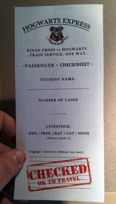 Hogwarts Express Pass // would be cute for a harry potter program, like when ABC fam does the HP weekends. IF ONLY ABC FAM WORKED WITH TWC :(((((
