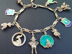 Vintage Charm Bracelet Collection - Gnomes, Pixies, Elves Silver & Enamel Charm Bracelet