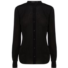 Karen Millen Stripe Military Shirt, Black ($83) ❤ liked on Polyvore featuring tops, black shirt, collared shirt, striped long sleeve shirt, long sleeve button down shirts and long sleeve tops