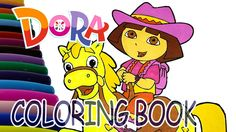 Dora is Riding a Horse Coloring Book - Dora and Friends Coloring Page fo...