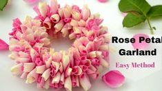 How to String Rose Petals garland || Easy Method to make garland Rose Pe...