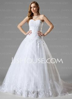 Wedding Dresses - $195.99 - A-Line/Princess Sweetheart Chapel Train Satin  Tulle Wedding Dresses With Lace  Beadwork (002000467) http://jjshouse.com/A-line-Princess-Sweetheart-Chapel-Train-Satin-Tulle-Wedding-Dresses-With-Lace-Beadwork-002000467-g467
