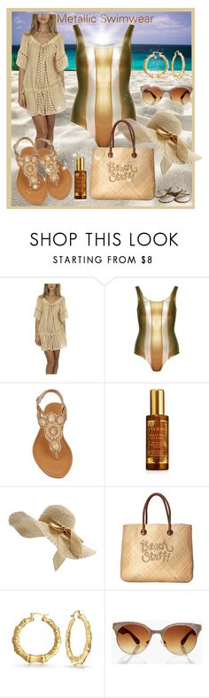 """Metallic Swimwear"" by sweetadry ❤ liked on Polyvore featuring Sunday Saint-Tropez, Cynthia Rowley, By Terry, White Stuff, Bling Jewelry and Boohoo"