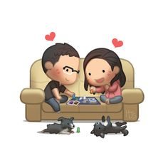 *eeeee* that's adorable. 2 doggies, sitting on the couch, if only he had long hair =( ...and she wasn't pink LOL Yay's then... board game woo !!