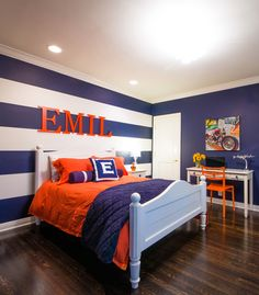 Bold Navy Striped Boys Bedroom - love the simple, yet preppy design!