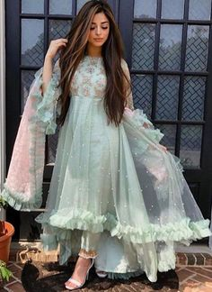 Our party wear suits collection is one of the best & highly loved by our customers. Find newest collection of partywear suit available at jiofab. Buy online most popular sage color butterfly mono net party wear salwar suit with good quality. Shadi Dresses, Pakistani Formal Dresses, Indian Gowns Dresses, Pakistani Dress Design, Pakistani Outfits, Bridal Dresses, Net Dresses, Pakistani Party Wear Dresses, Gown Party Wear