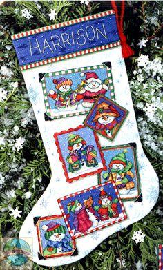 Dimensions- SALE - Snowmen Snapshot Stocking - Cross Stitch World