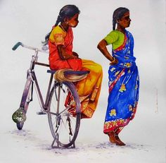 Siva Balan - Cycle  watercolors